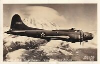 Vintage Real Photo Post Card RPPC Aerial Flying Fortress Boeing B-17 Bomber
