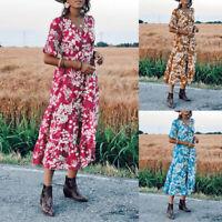Belle Femme Robe Imprimé Floral Manche Courte Col V Ample Casuel Dresse Plus