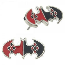 HARLEY QUINN X BATMAN DIAMOND CHARM PENDANT SILVER EARRINGS *NEW* RARE SALE!!!