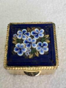 Vtg ITALY Mini Micro Mosaic Flower Floral Pill Box Pin Trinket Stash Blue White