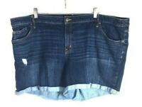 "Ava & Viv Women's Blue Jean Shorts 26W (Waist 48"") Distressed Dark Mid-Rise  *E"