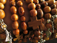 Handmade Bethlehem Olive Wood Bead Charm Bracelet Jerusalem Cross Jesus Mary