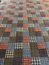 New ListingVintage Madras Plaid Hand Quilted One Patch Quilt 66x82 twin #626