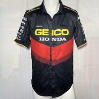 100% Men's Geico Honda Pilot Pit Button Up Short-Sleeve Moto Shirt Size Medium