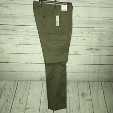 Crosby & Howard Men's SZ 32X34 Stretch Drawstring Cargo Cotton Pants Olive $99