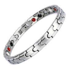 Novoa Women Magnetic Bracelet Quad-Element Stainless Titanium Two-Tone Silver