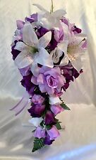 Bridal Bouquet Cascade Lavender Purple Silk Rose Lily Package 21pc Silk Flowers
