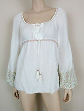 CHELSEA & VIOLET Peasant Blouse Top Embroidered Sleeve Empire Waist White S