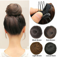 US Clip In On 100% Real as Human Hair Bun Scrunchie Chignon Updo Cover Extension