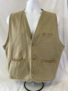 Vintage ORVIS Sporting Men's Khaki Tan Button Cotton Simple Vest Large, L