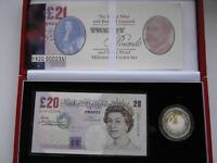 2000 £20 note and £5 coin set, Millennium.