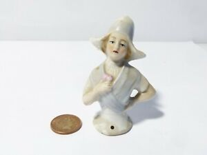 """Antique German 3"""" tall HALF DOLL Pin Cushion Very Pretty Young Lady"""
