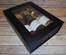 BLACK MAGNETIC GIFT BOX with WINDOW - Christmas Gift Hamper - 3 Wine Bottle Box