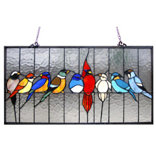 2 Tiffany Style Stained Glass Birds Window Panel Handcrafted 6x11