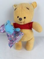 "Disney, Fisher Price 10"" Winnie the Pooh Baby Bear Plush 2004 Blanket Rattle Toy"