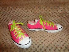 CONVERSE ALL-STARS NEON PINK & LIME GREEN FISHY LOW TOP CANVAS SNEAKERS--6 8