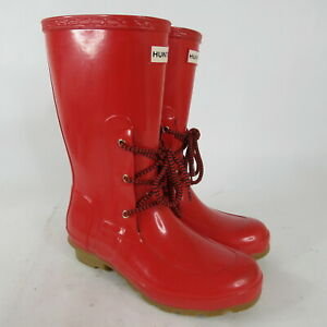 Hunter Ackley Mid Calf Lace Up Red Waterproof Rubber Rain Boots Womens Size 5 M