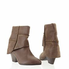 Women's Fergie Knack Shoes Brown Pointed Toe Leather Mid Calf Boots Size 6 M NEW