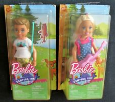 Bundle BARBIE Camping Fun CHELSEA Dolls - Girl & Guitar + Boy & Fishing Rod -NEW
