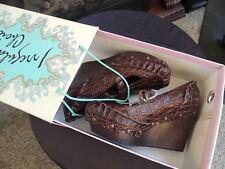 NIB Womens Size 8.5 * IRREGULAR CHOICE * Brown Leather Croc Shoes Platform Wedge