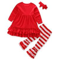 3pcs Toddler Baby Girl Ruffle Tops Striped Long Sleeve Pants Headband Outfit Set