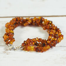 Genuine Natural Baltic Amber Bracelet Raw Unpolished Cognac Beads Silver Clasp