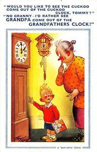 POSTCARD COMIC - GRAND MA - GRAND SON - CUCKOO CLOCK -   BAMFORTH # 1068