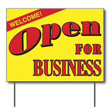"""Welcome Open For Business Curbside Sign, 24""""w x 18""""h, Full Color Double Sided"""