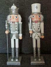 Silver & White Christmas Nutcracker Soldier King or Swordsman 38cm Nutcrackers