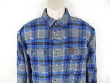 WRANGLER RIGGS Workwear Long Sleeve Flannel Plaid Button Shirt 2XL XXL Blue