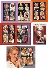 MARILYN MONROE 7 SOUVENIR SHEETS MNH IMPERFORATED
