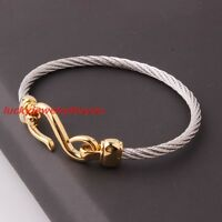 Trendy Womens Mens 316L Stainless Steel Twisted Cable Cuff Bracelet 4mm Jewelry