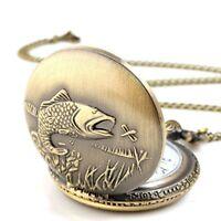 Unisex Antique Case Vintage Brass Rib Chain Quartz Pocket Watch Steampunk Fish