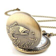 Unisex Antique Case Vintage Brass Rib Chain Quartz Pocket Watch Fish