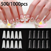 500 / 1000Pcs Clear Natural Color Half French False Acrylic Nail Art Tips UV Gel