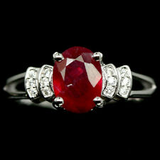 ATTRACTIVE! NATURAL! 6 X 8 mm. RED RUBY & WHITE CZ STERLING 925 SILVER RING