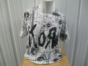 VINTAGE HANES KORN THE PATH OF TOTALITY ALL OVER PRINT XL WHITE T-SHIRT PREOWNED