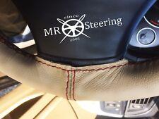 Pour Jaguar Daimler MK2 Beige Housse Volant Cuir Rouge Foncé Double Point