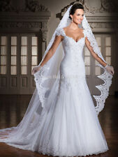 New White Ivory Cathedral 1 Tier Wedding Veil Lace Purfle 3 meter Long With Comb