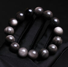 Round Beads Stretch Bracelet 13.3mm Natural Silvery Obsidian Gemstone