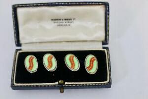Antique Art Deco solid silver enamel cufflinks Vintage Cufflinks London in box
