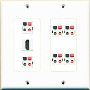 6 Speaker Jack and 1 HDMI 2 Gang Wall Plate White