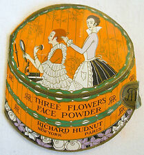 Richard Hudnut 3 Flowers litho'd SAMPLE tin on original brochure -  circa 1920s