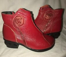 f25277141c697 Womens Boots Red Side Zip Ankle Booties Round Toe Art Deco Floral Size 7