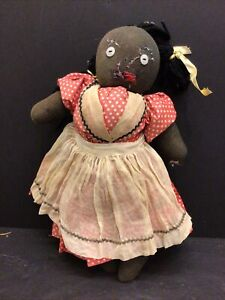 """Antique CLOTH Hand Made RAG Sock DOLL Black African-American 13"""""""