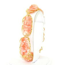 "New 14K Yellow Gold Pink Coral Bracelet Hand carved  8""  8inches"