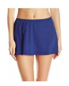 24th & Ocean Women's Solid Navy blue Skirted Bikini Bottom size L