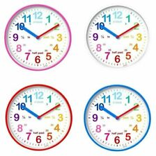 Acctim Wickford Kids Teach/ Learn To Tell Time Childrens Wall Clock 4 Colours