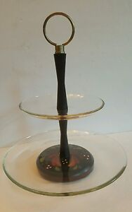 Tiered Serving Tray Cookies Cupcake Stand Hand painted wood base & glass plates