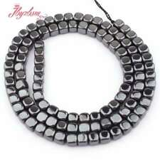 """4mm Cube Suqare Metallic Coated Hematite No Magnetic Stone Spacer Loose Beads15"""""""